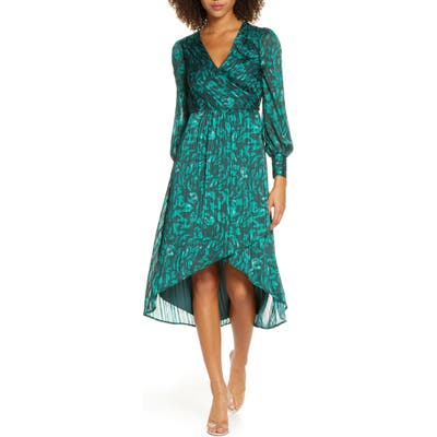 Ali & Jay No Regrets Long Sleeve Jacquard Dress, Green