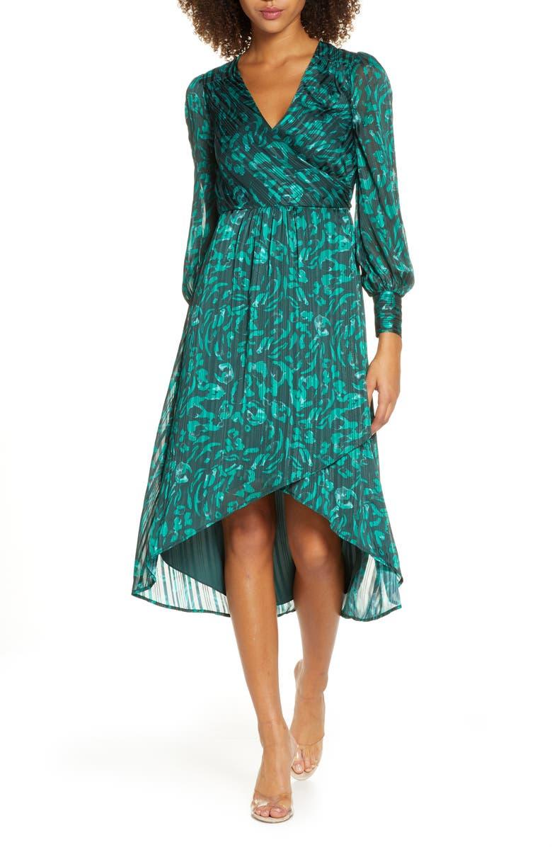 ALI & JAY No Regrets Long Sleeve Jacquard Dress, Main, color, PINE PAINTED LEOPARD