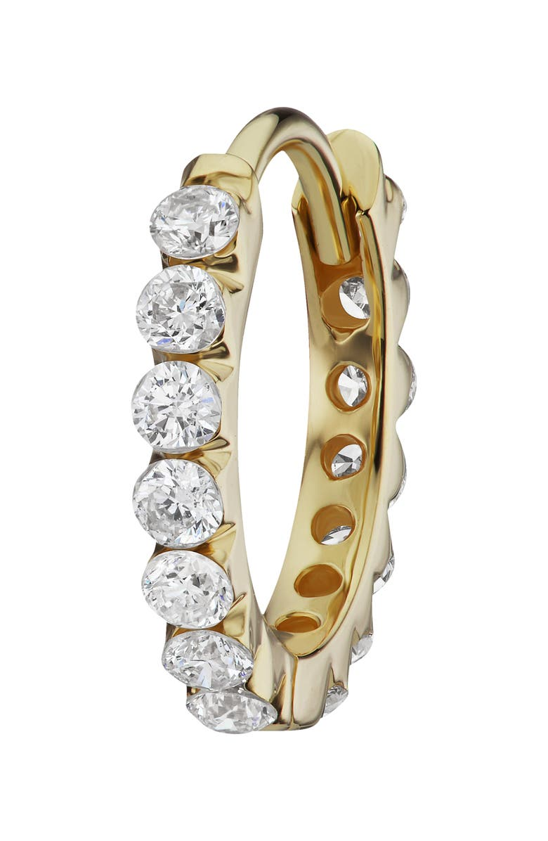MARIA TASH Invisible Set Diamond Eternity Huggie Earring, Main, color, YELLOW GOLD