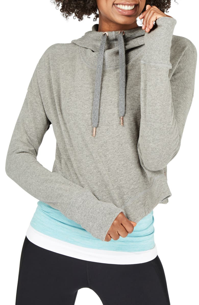SWEATY BETTY Escape Luxe Crop Hoodie, Main, color, LIGHT GREY MARL