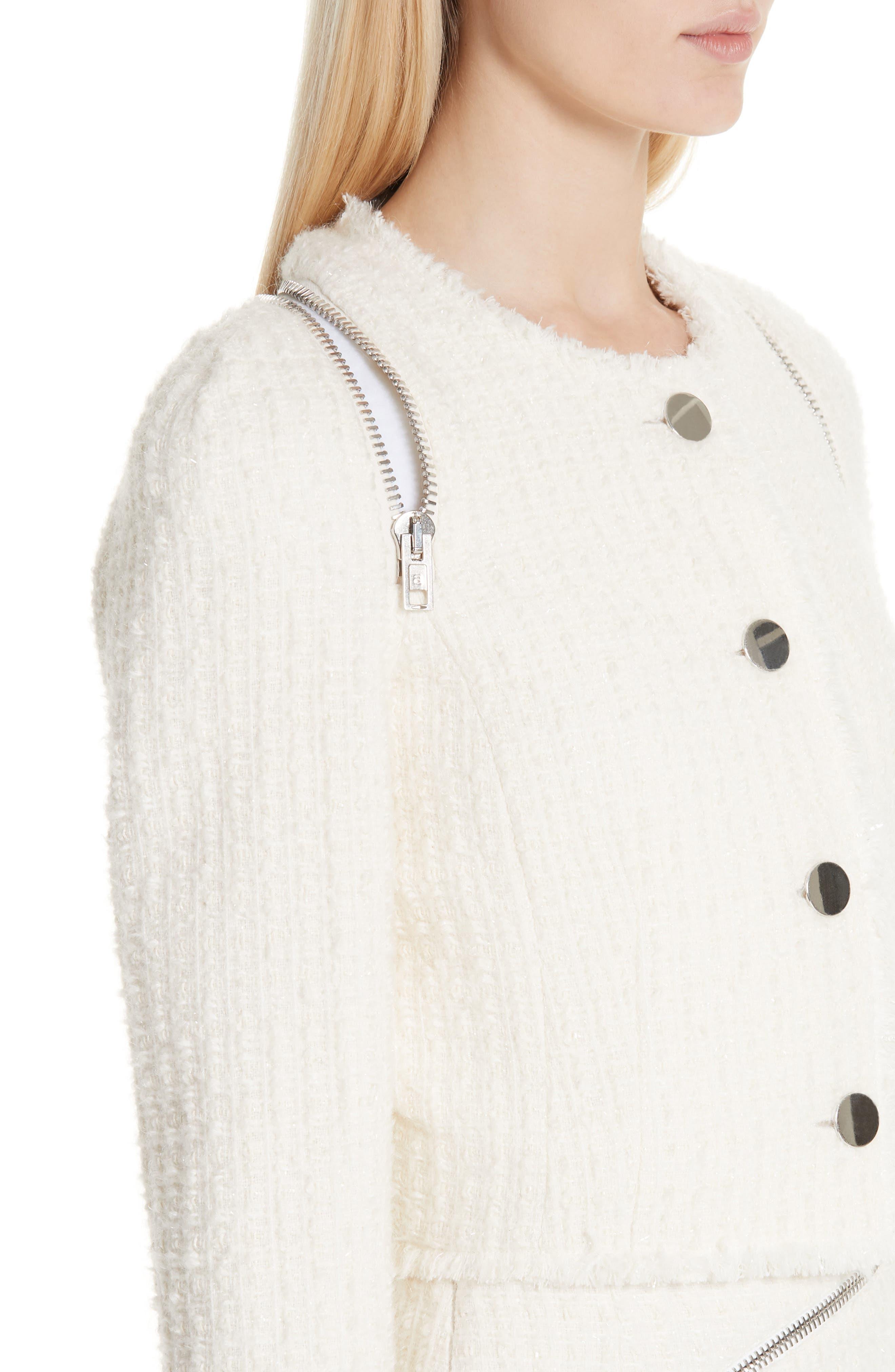 ,                             Zip Detail Tweed Jacket,                             Alternate thumbnail 5, color,                             IVORY