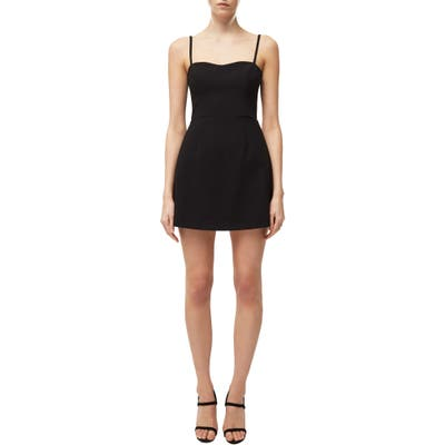 French Connection Whisper Cutout Tie Back Minidress, Black