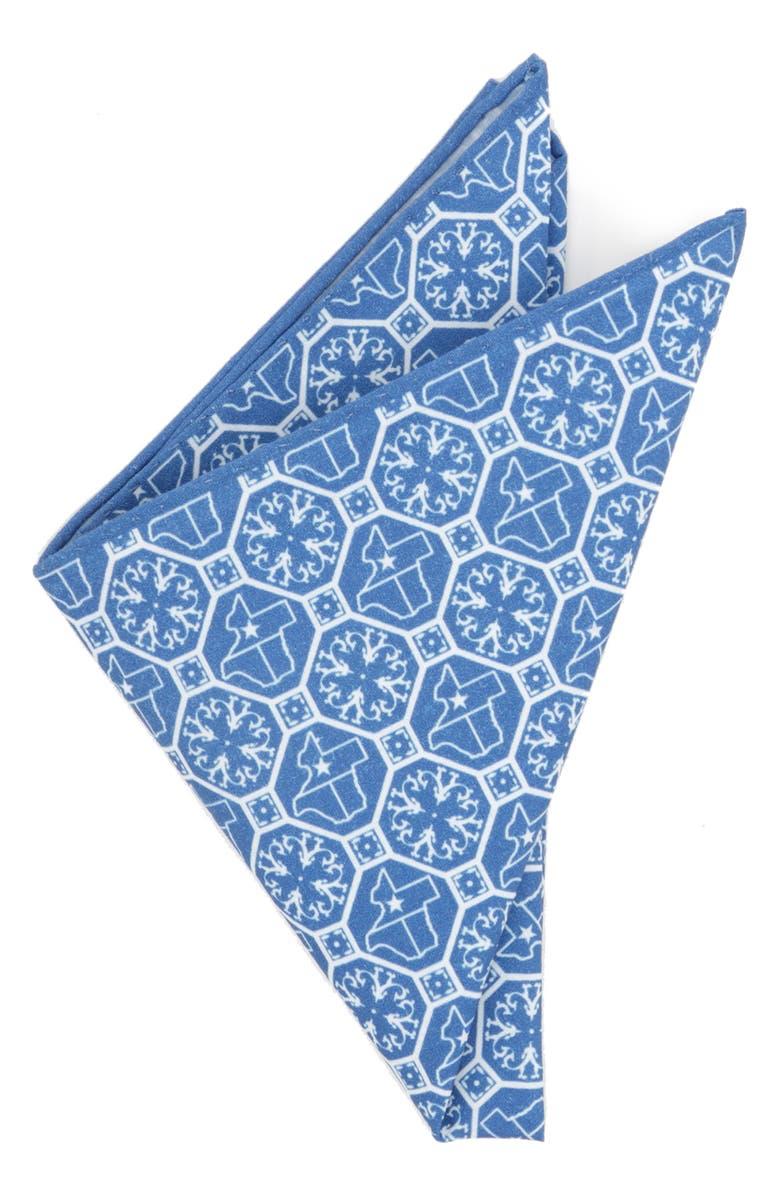 CUFFLINKS, INC. Texas State Cotton Pocket Square, Main, color, BLUE