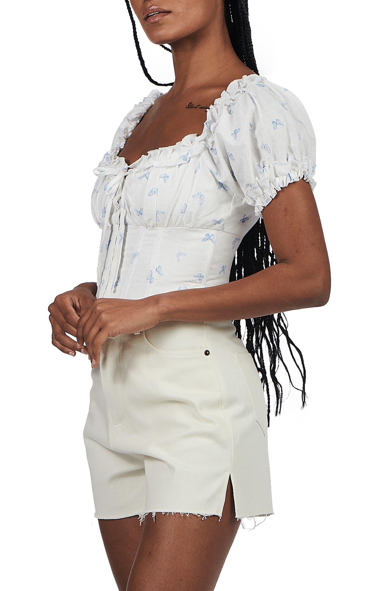 Lucie Corset Style Linen & Cotton Top