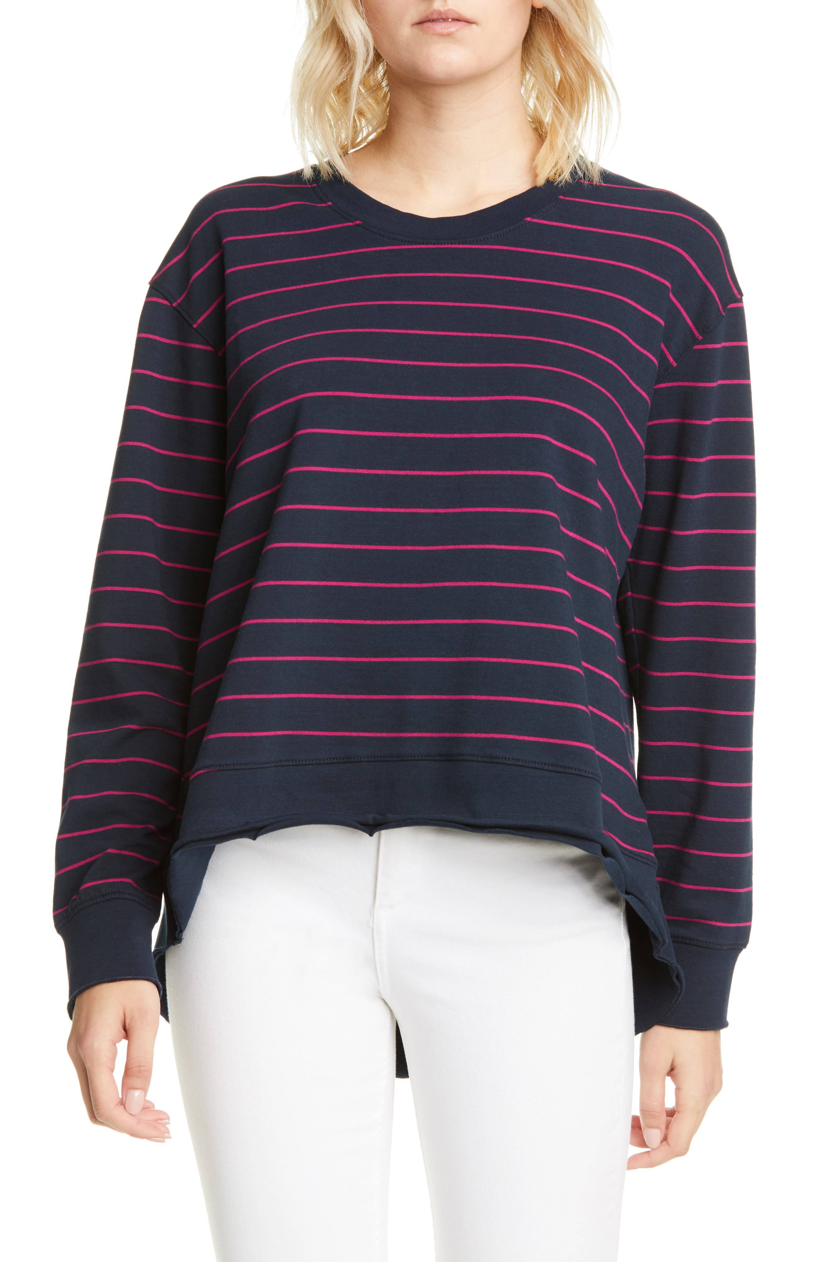 Image of FRANK & EILEEN Striped Dolman High/Low Pullover