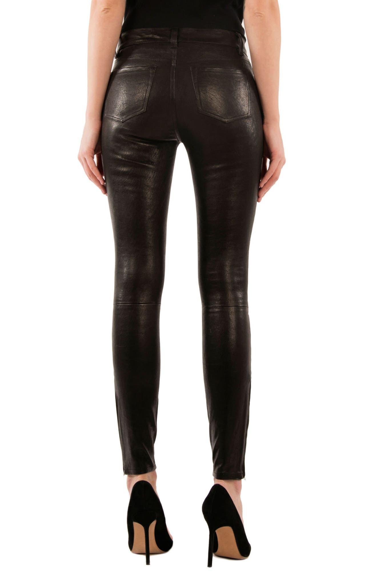 ,                             '8001' Lambskin Leather Pants,                             Alternate thumbnail 17, color,                             003