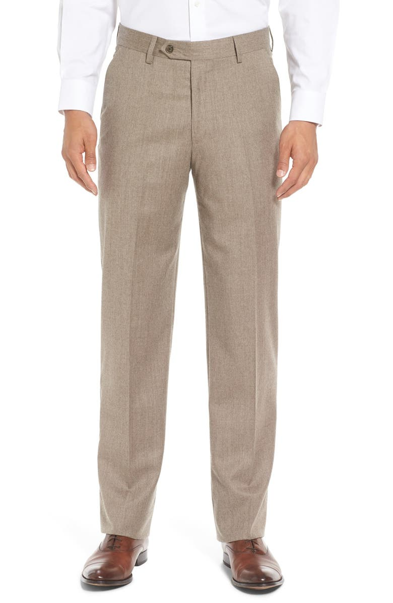 BERLE Flat Front Classic Fit Solid Wool Dress Pants, Main, color, HEATHER TAN