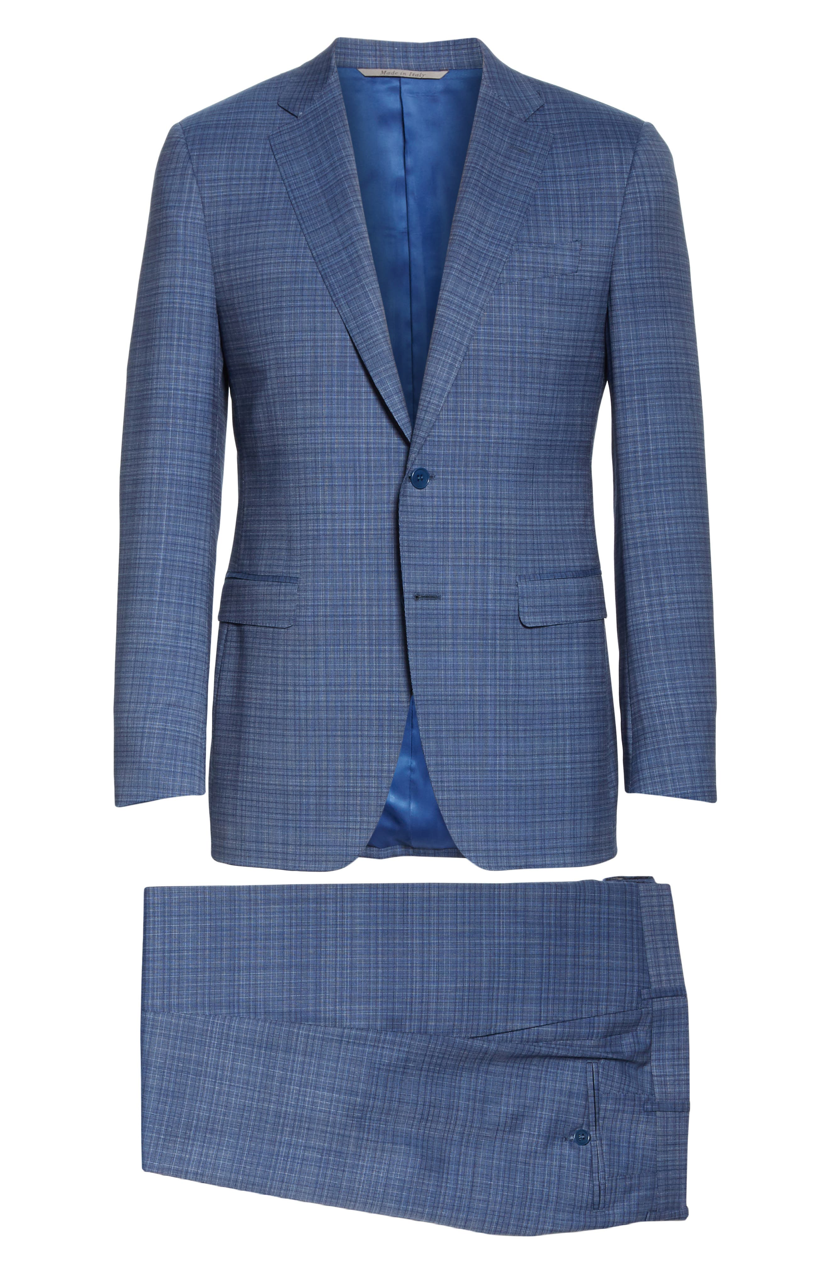 ,                             Milano Classic Fit Check Wool Suit,                             Alternate thumbnail 8, color,                             BLUE