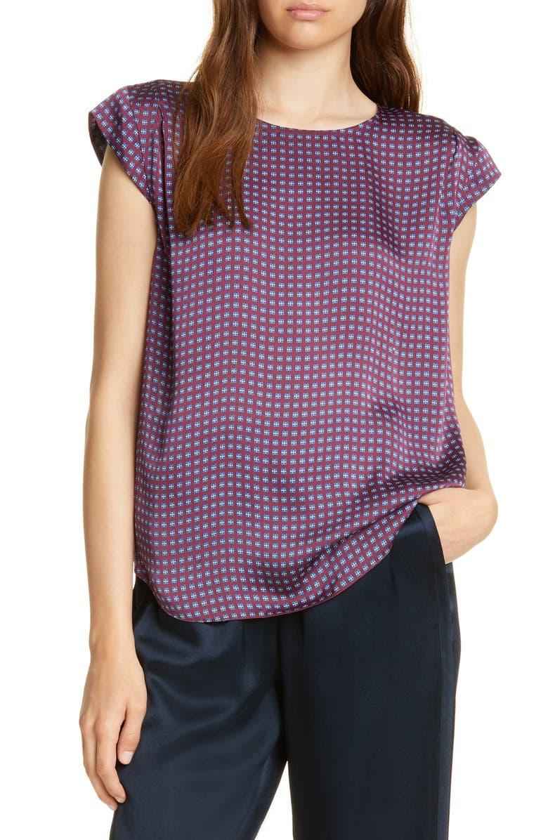 JOIE Kelda Geo Print Cap Sleeve Top, Main, color, PORT WINE