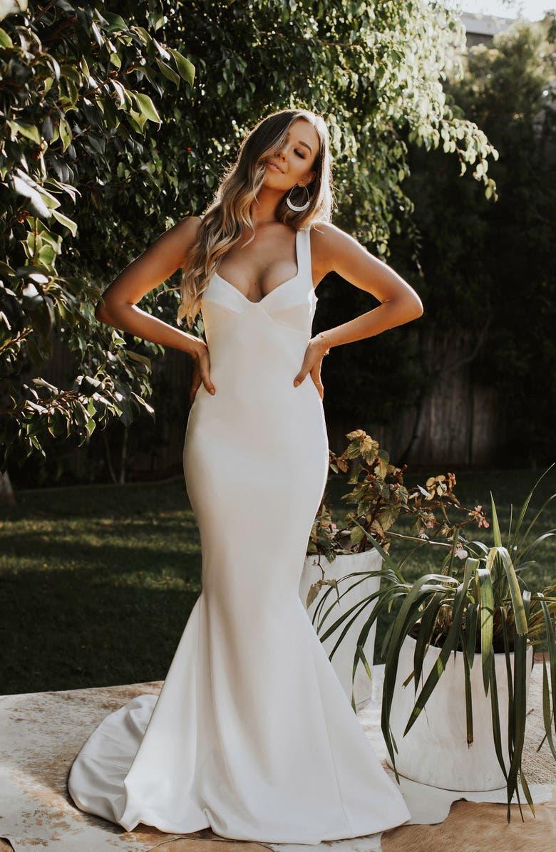 NOEL AND JEAN BY KATIE MAY Va Va Voom Mermaid Wedding Dress, Main, color, IVORY