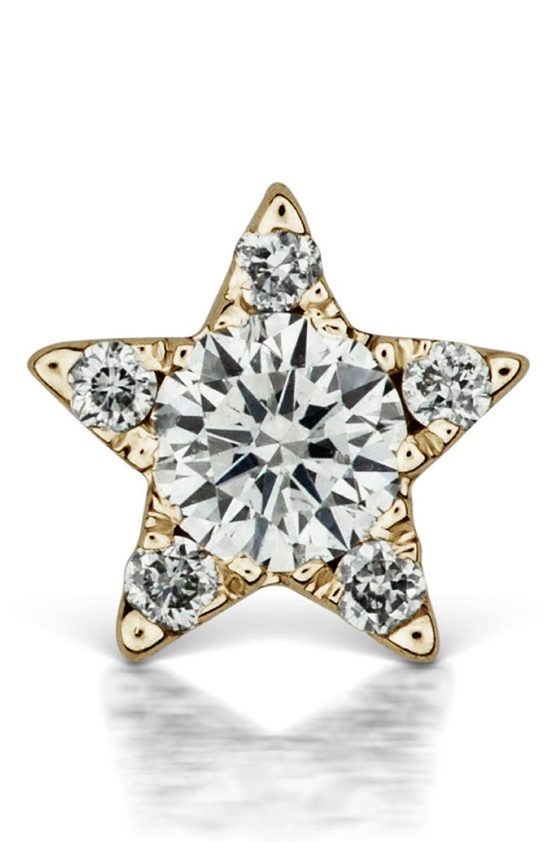MARIA TASH Diamond Star Threaded Stud Earring, Main, color, YELLOW GOLD/ DIAMOND