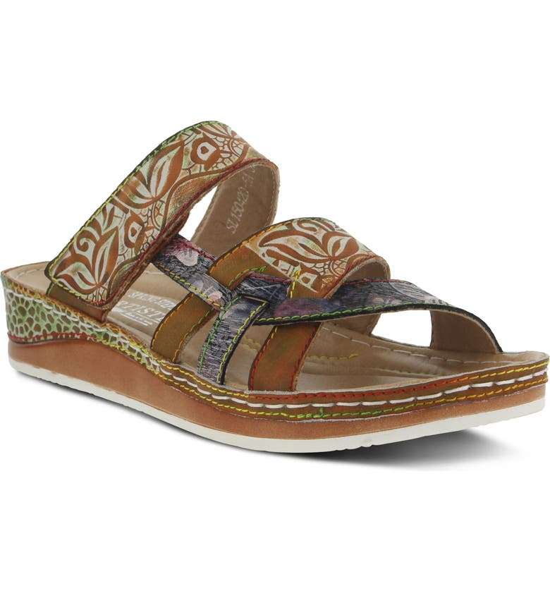 L'ARTISTE Caiman Sandal, Main, color, CAMEL LEATHER