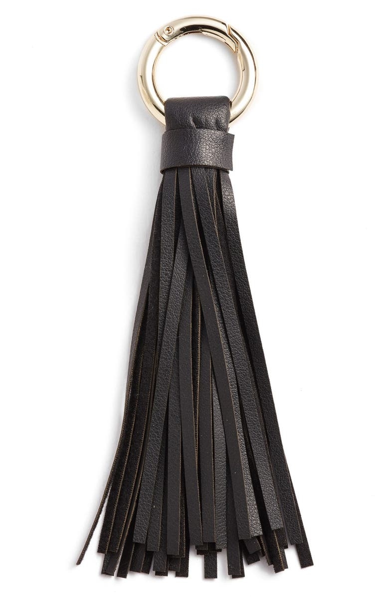 BP. Faux Leather Tassel Keychain, Main, color, 001