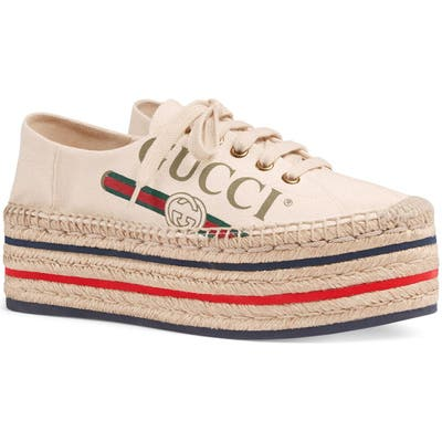 Gucci Convertible Logo Espadrille - Ivory