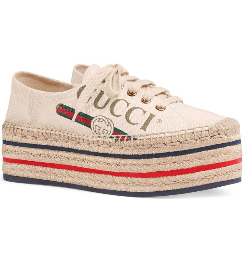 GUCCI Convertible Logo Espadrille, Main, color, IVORY