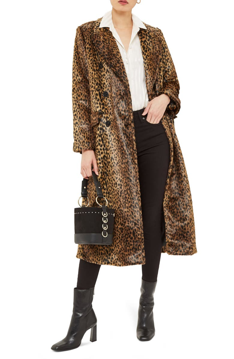 TOPSHOP Toni Faux Fur Leopard Long Coat, Main, color, 200