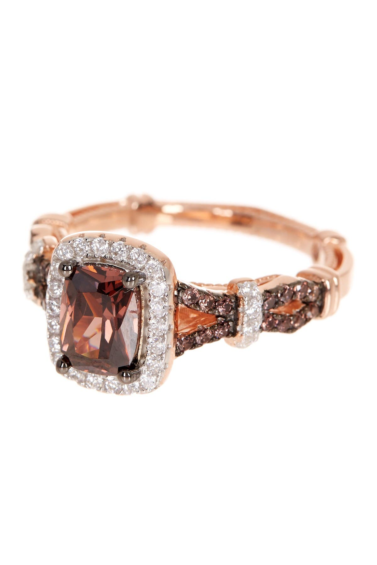 Image of Suzy Levian Pink Rhodium Plated Sterling Silver Brown & White CZ Engagement Ring