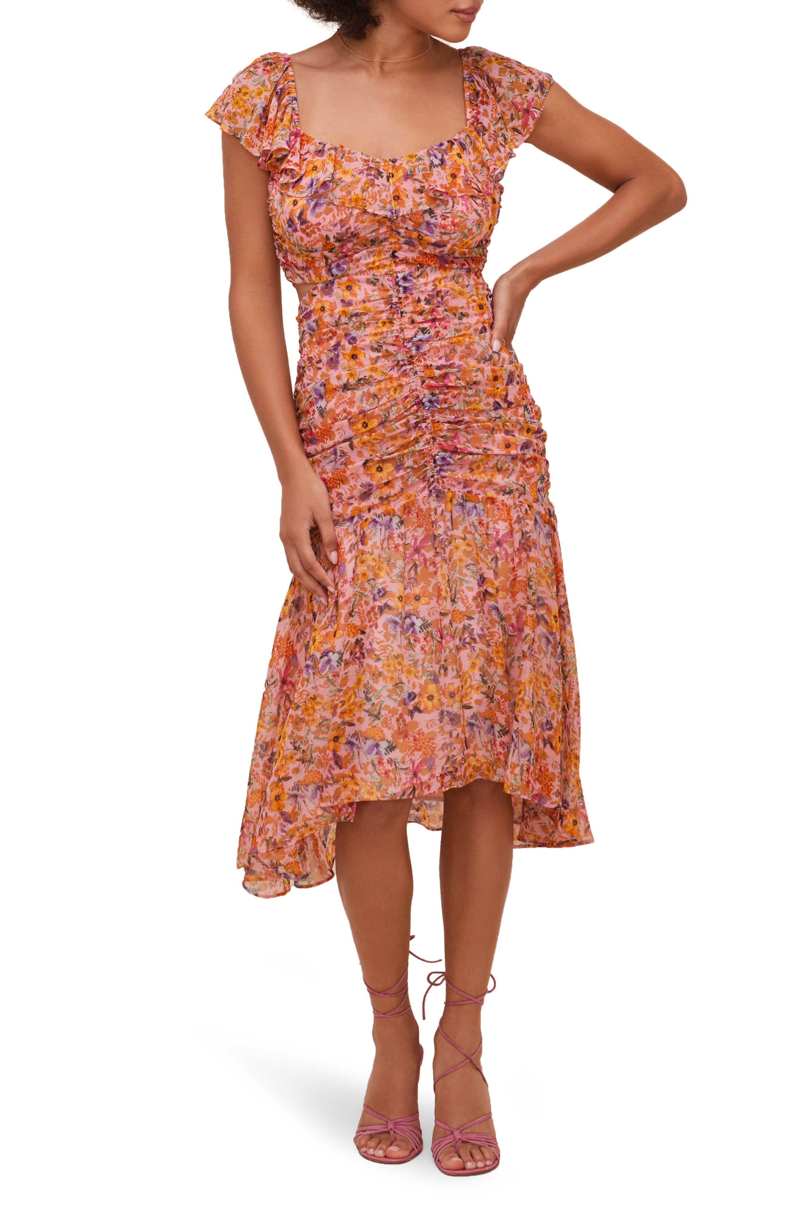 Devereaux Floral Chiffon Midi Dress