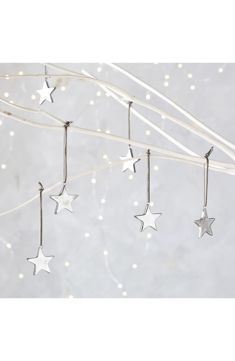 THE WHITE COMPANY Set of 6 Star Ornaments, Main, color, PEWTER
