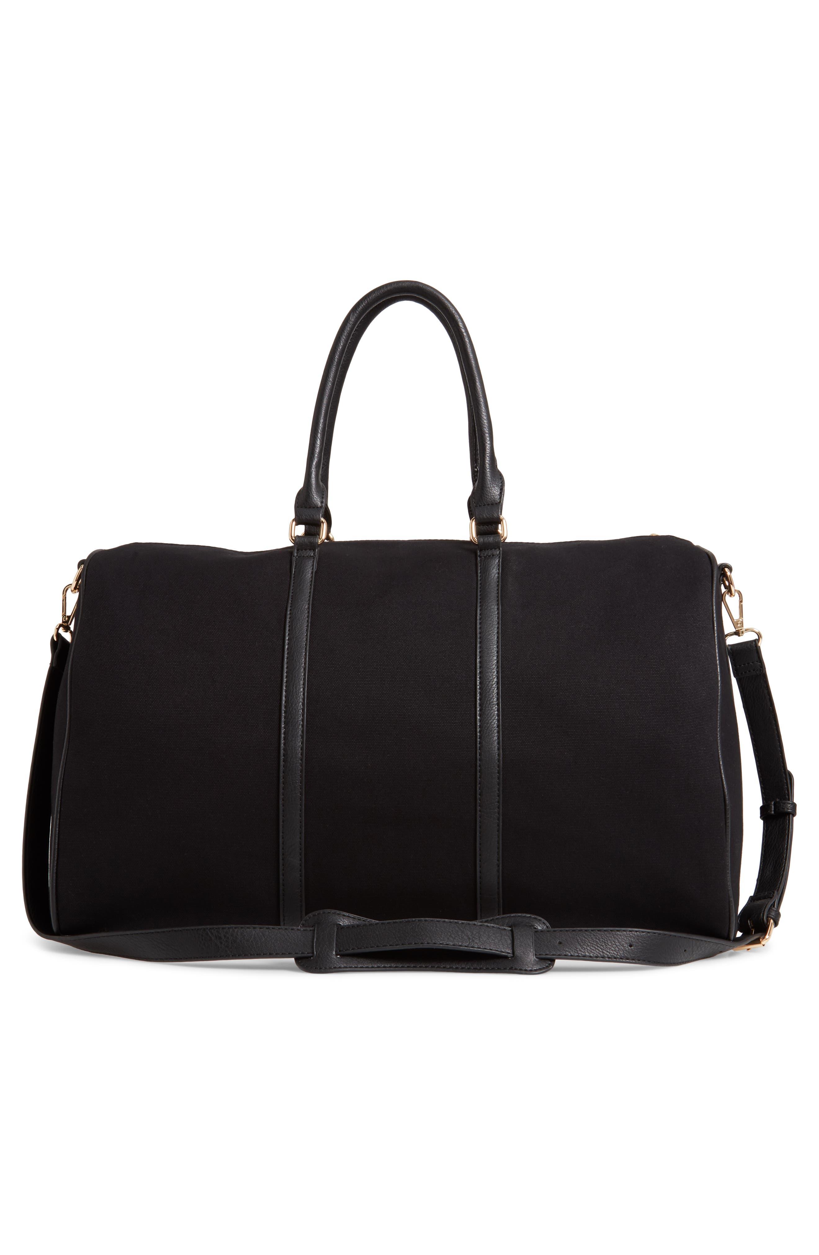 ,                             Lacie Faux Leather Duffle Bag,                             Alternate thumbnail 4, color,                             BLACK CANVAS