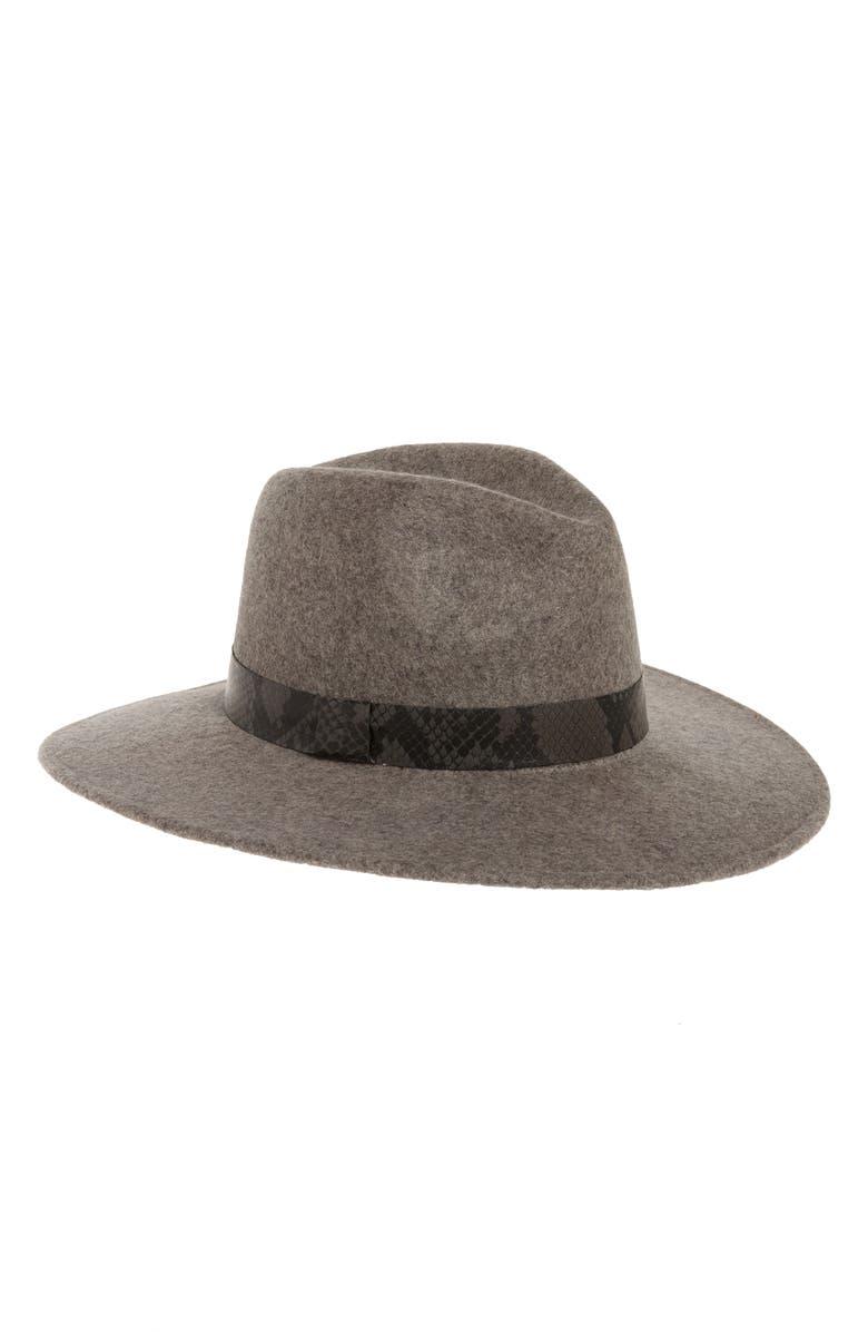 TREASURE & BOND Snakeskin Print Trim Wide Brim Wool Panama Hat, Main, color, GREY LIGHT HEATHER