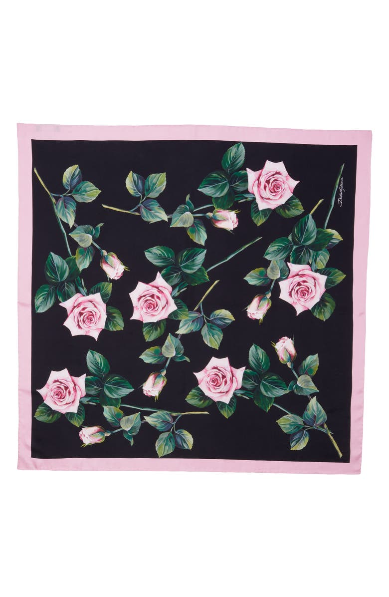 DOLCE&GABBANA Rose Print Square Silk Twill Scarf, Main, color, 001