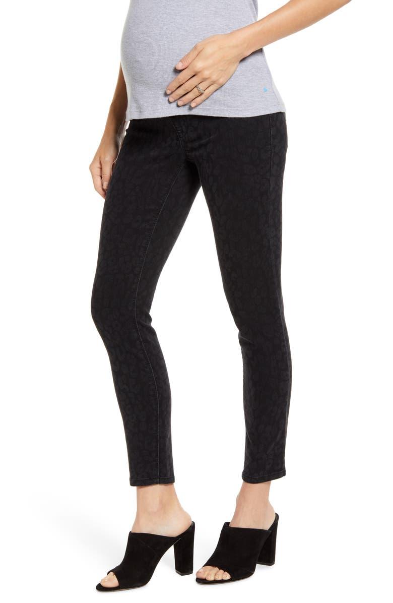 1822 DENIM Tonal Cheetah Maternity Ankle Skinny Jeans, Main, color, ULLA