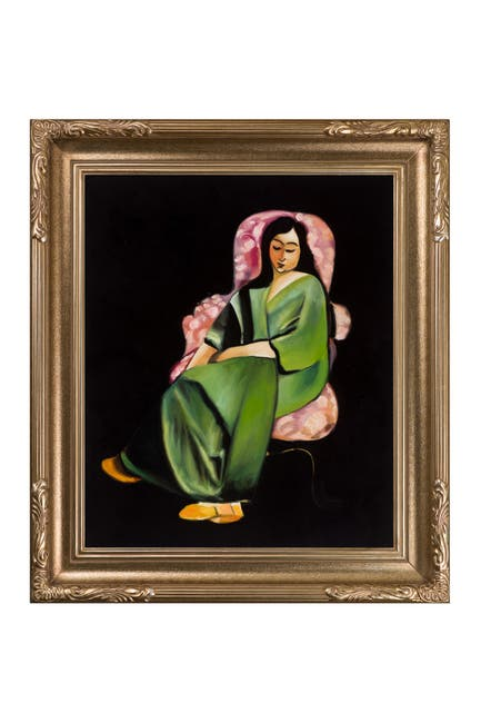 Image of Overstock Art Lorette in a Green Robe against a Black Background by Henri Matisse Framed Hand Painted Oil Reproduction
