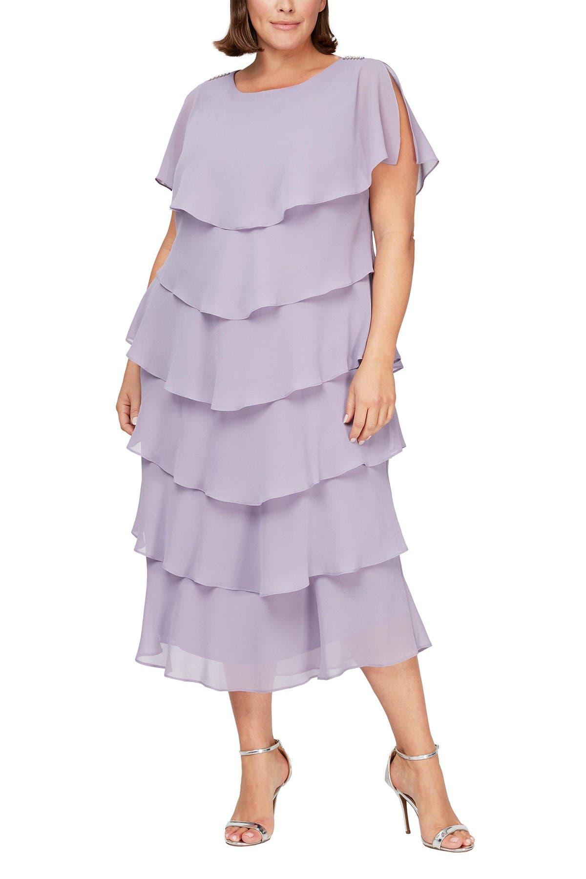 Image of SLNY Tiered Chiffon Midi Dress