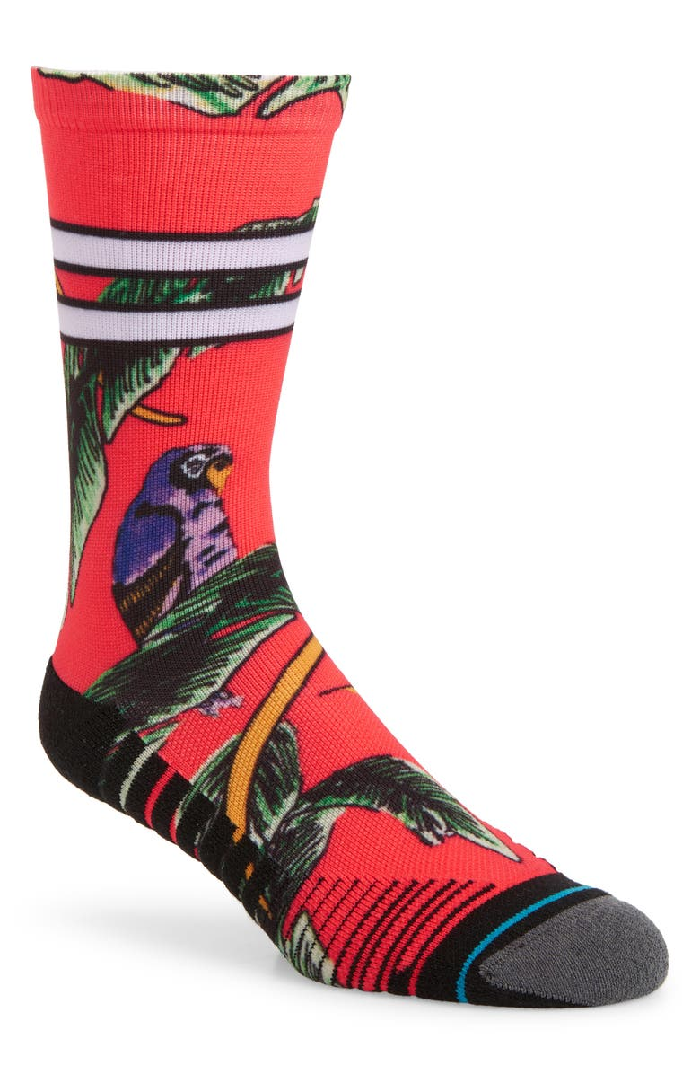 STANCE Tropicana Crew Socks, Main, color, RED