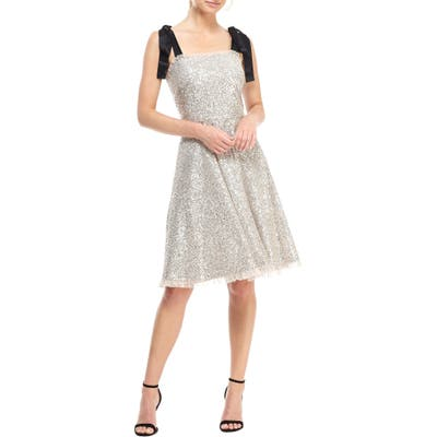 Gal Meets Glam Collection Diana Sequin Cocktail Dress With Satin Shoulder Ties, Metallic
