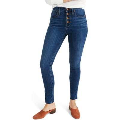 Plus Size Madewell Button Front 10-Inch High Rise Skinny Jeans, Size Blue