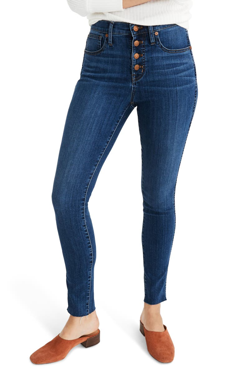 MADEWELL Button Front 10-Inch High Rise Skinny Jeans, Main, color, BRINVILLE WASH