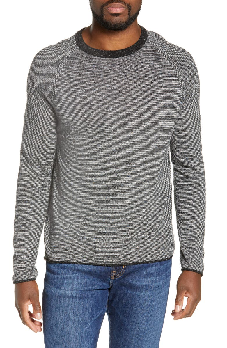 BILLY REID Neppy Crewneck Sweater, Main, color, CHARCOAL/ CREAM