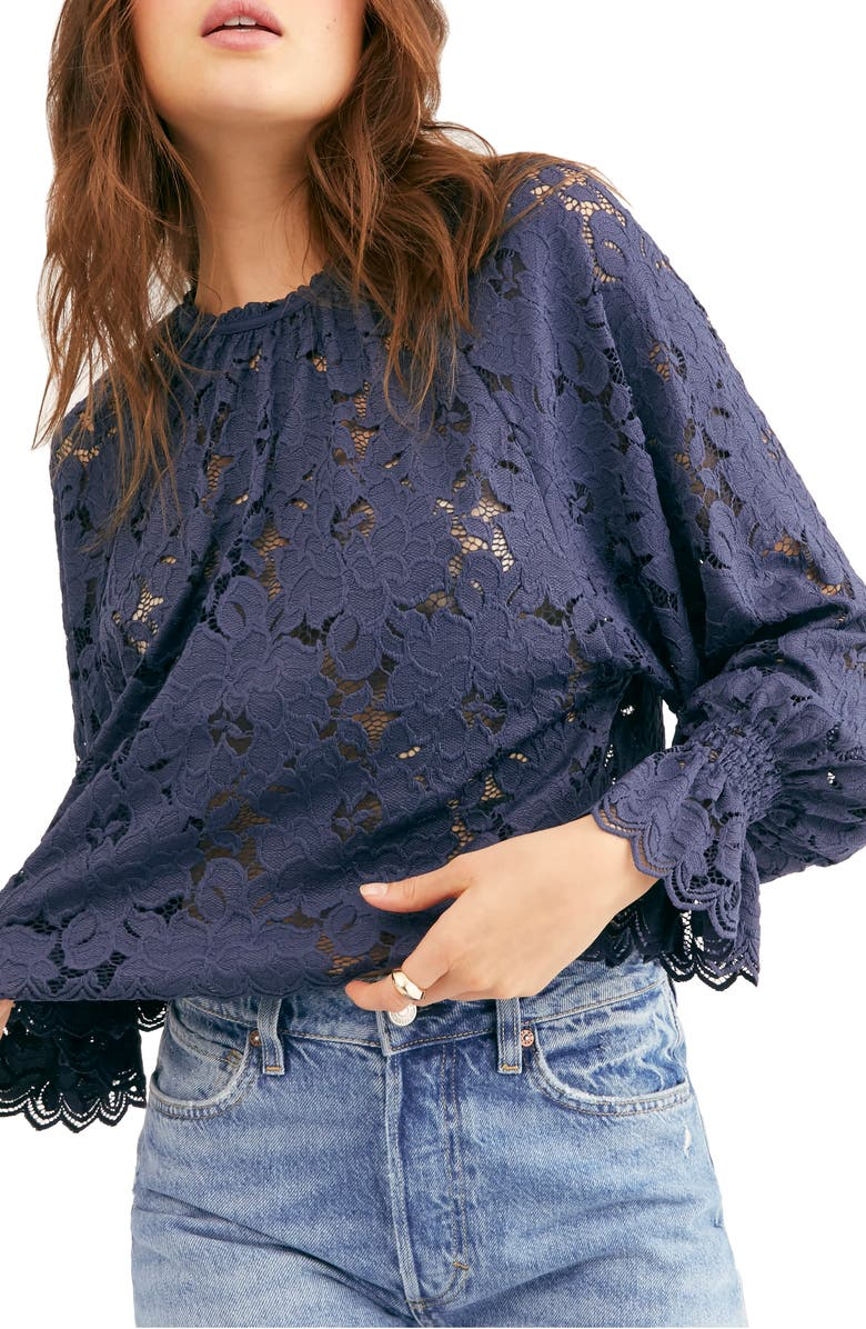 FREE PEOPLE Olivia Lace Top, Main, color, NAVY