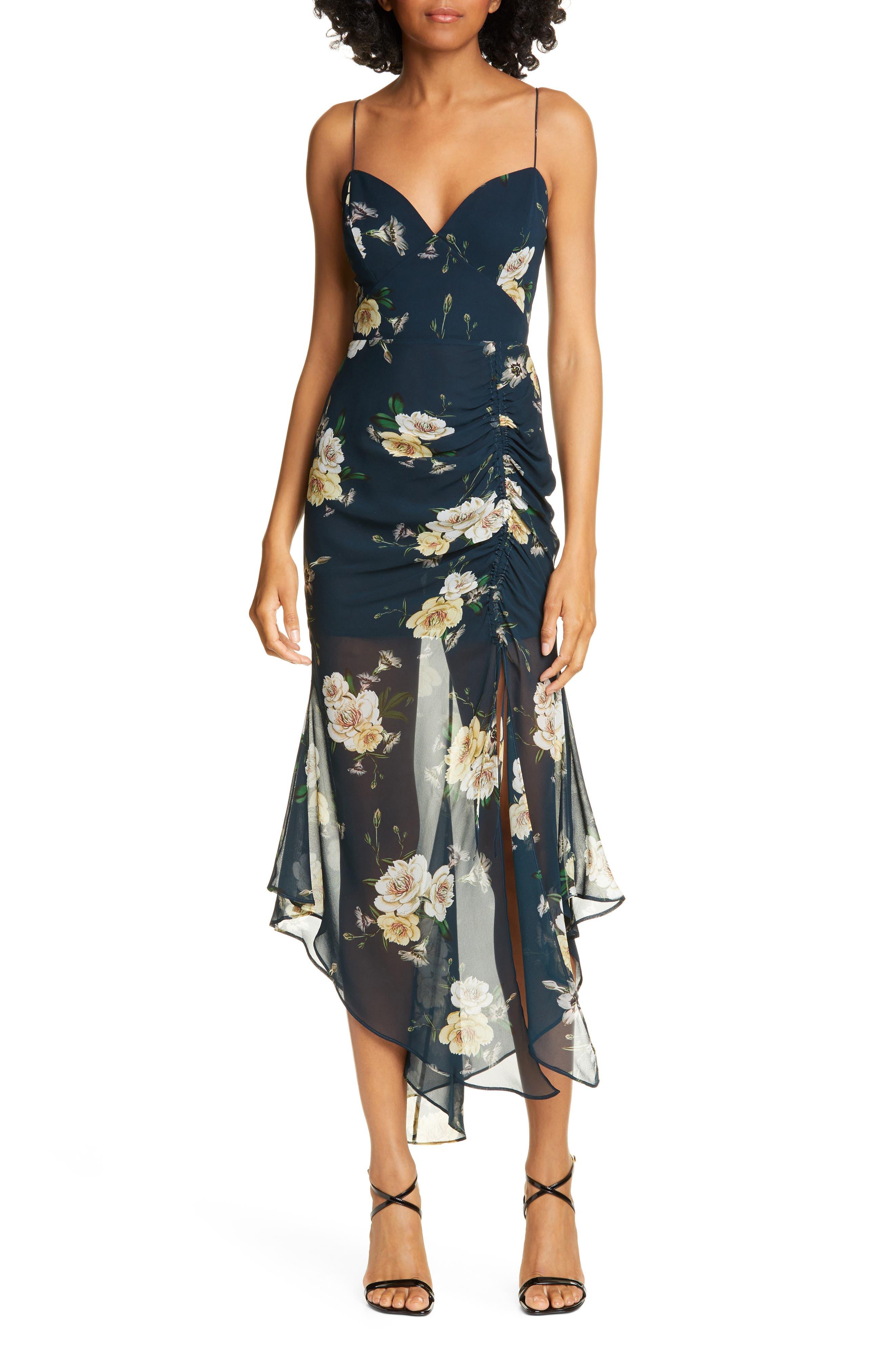Nicholas Ruched Angled Hem Silk Dress, Black