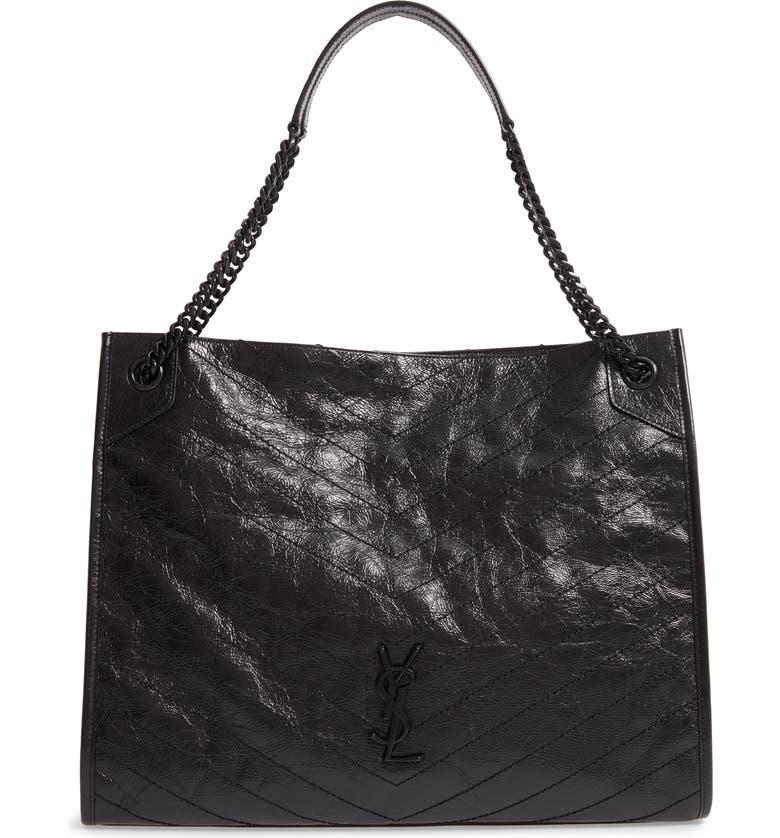 SAINT LAURENT Large Niki Leather Shopper, Main, color, NOIR