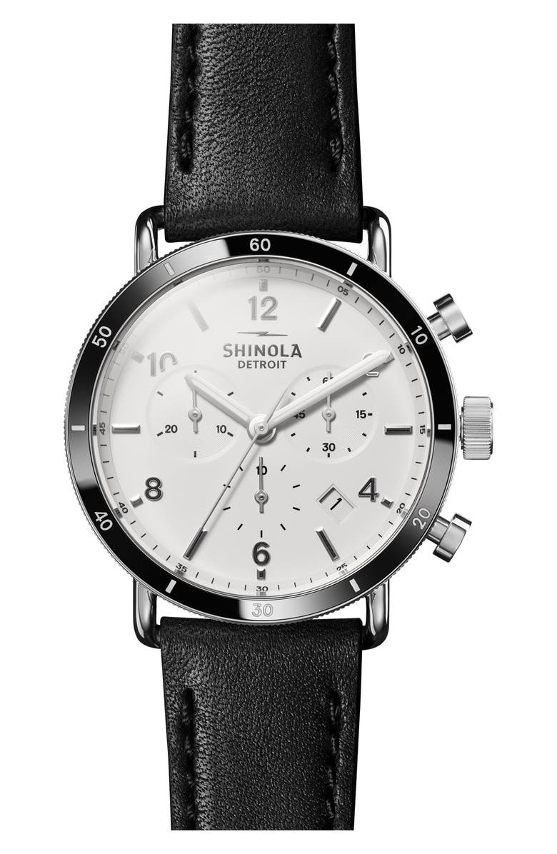 SHINOLA The Canfield Chrono Leather Strap Watch, 40mm, Main, color, BLACK/ WHITE/ SILVER