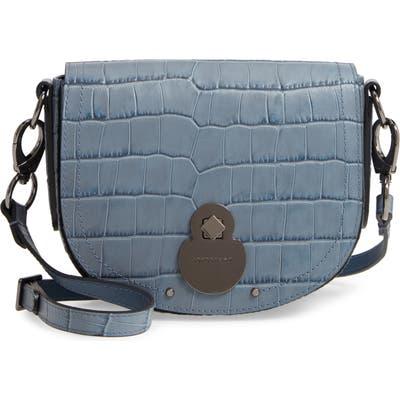 Longchamp Small Cavalcade Crocodile Embossed Leather Crossbody Bag - Blue