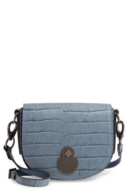 Longchamp Crossbody SMALL CAVALCADE CROCODILE EMBOSSED LEATHER CROSSBODY BAG - BLUE