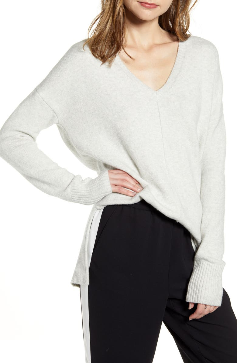 CHELSEA28 Side Slit Sweater, Main, color, GREY HEATHER