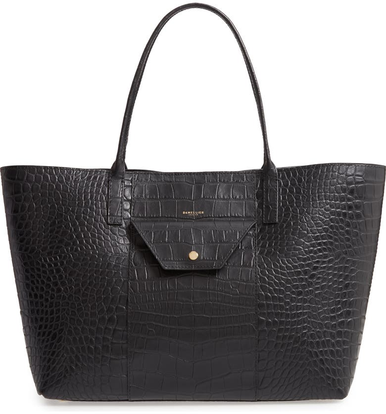 DEMELLIER Miami Croc Embossed Leather Tote, Main, color, 001
