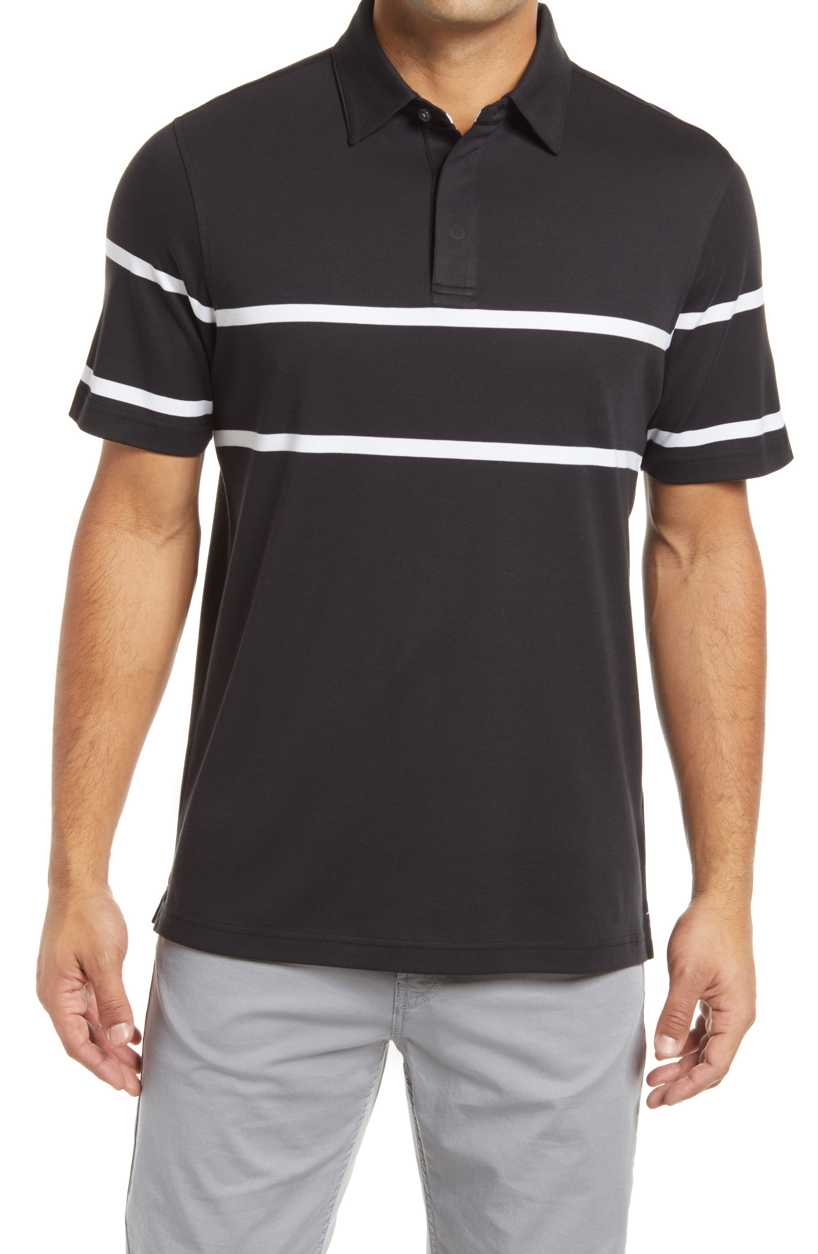 Clean-cut stripes touch up a modern polo shirt cut from soft pima cotton. Style Name: Bugatchi Stripe Pima Cotton Polo Shirt. Style Number: 6129557. Available in stores.
