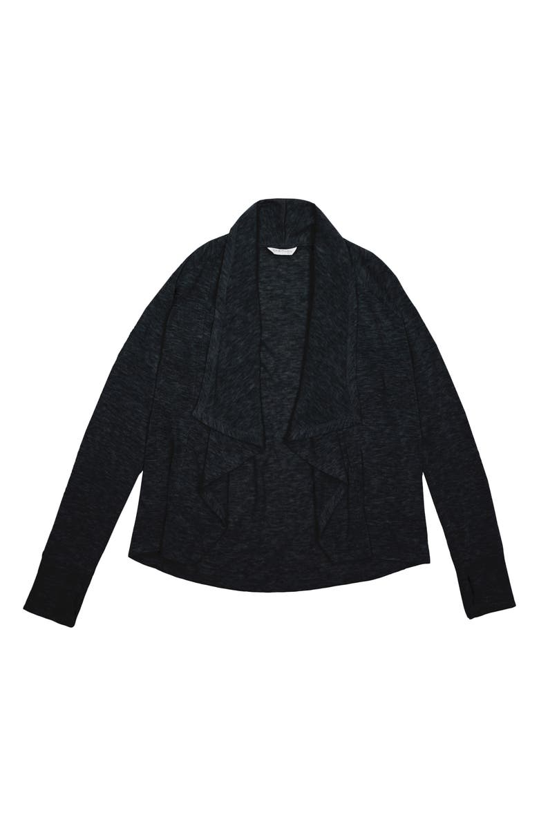 HABITUAL GIRL Cortsie Open Cardigan, Main, color, BLACK