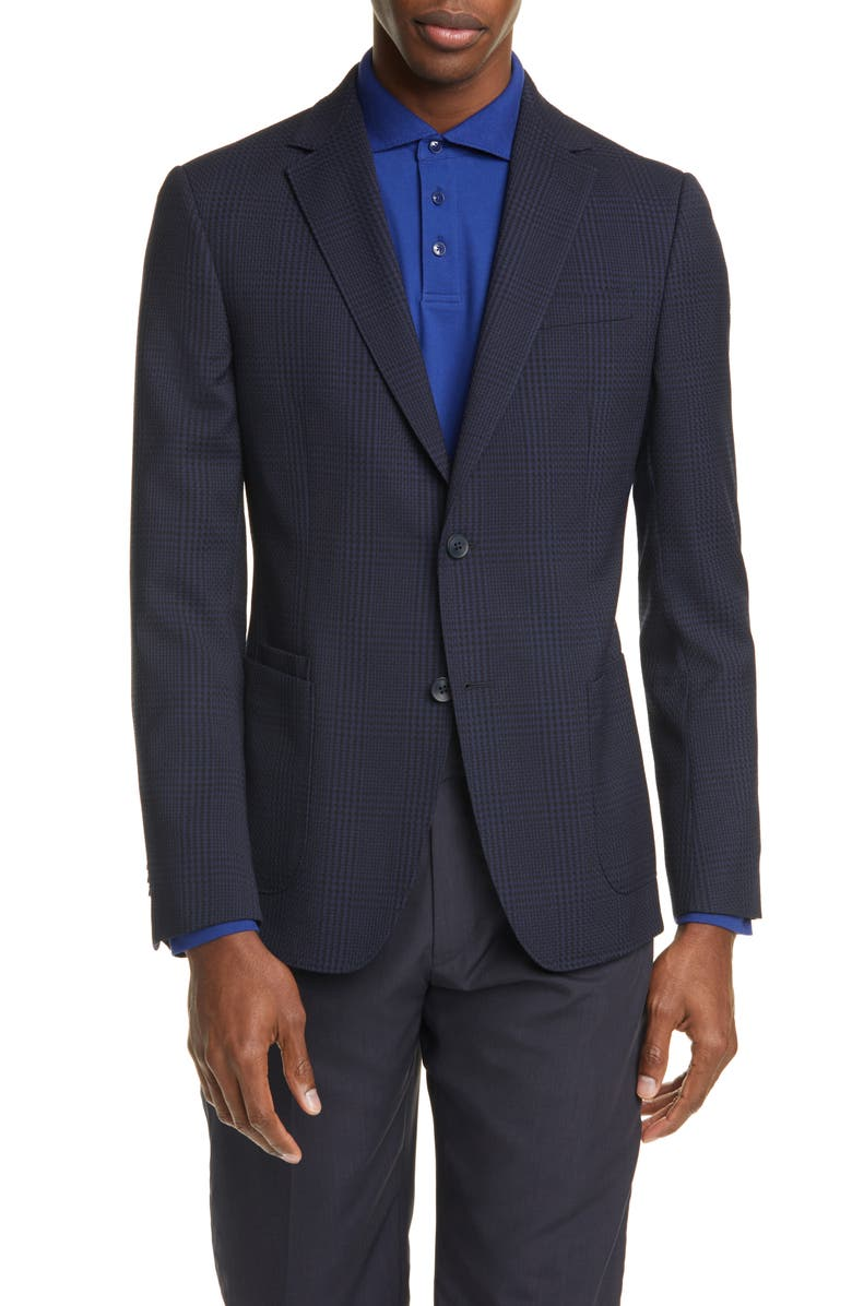 Z ZEGNA Trim Fit Plaid Stretch Wool Sport Coat, Main, color, NAVY