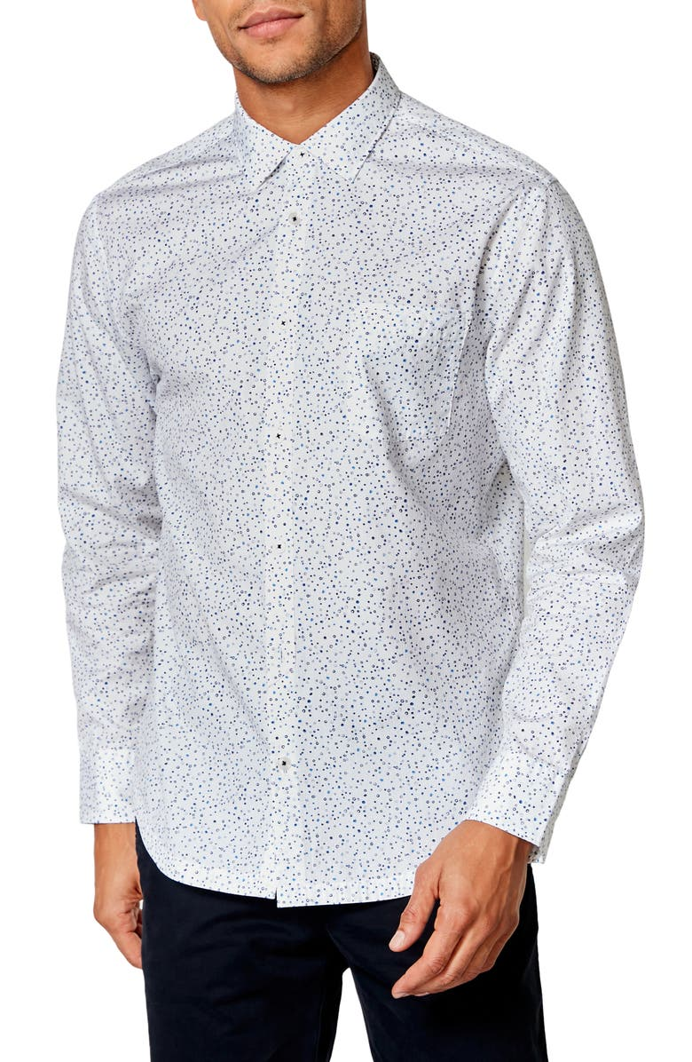 GOOD MAN BRAND On Point Slim Fit Button-Up Shirt, Main, color, WHITE ORGANIC MICRO DOT