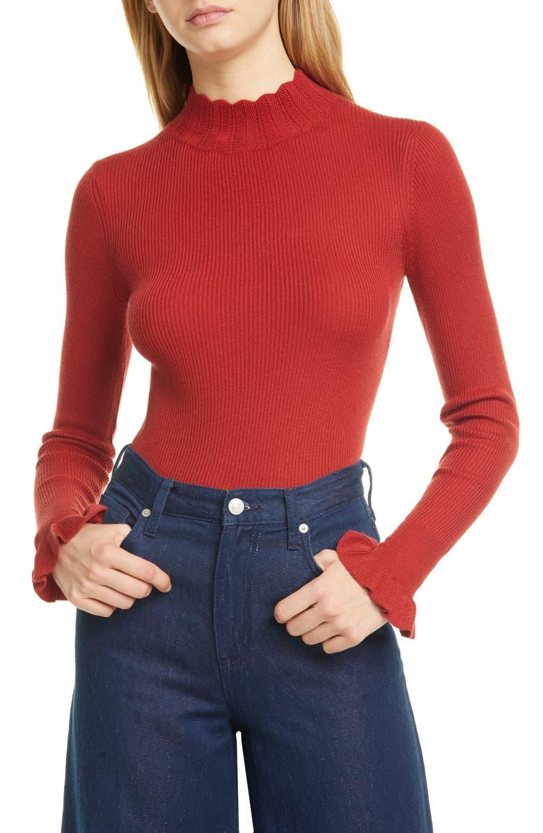 TED BAKER LONDON Scalloped Neck Sweater, Main, color, DK-ORANGE