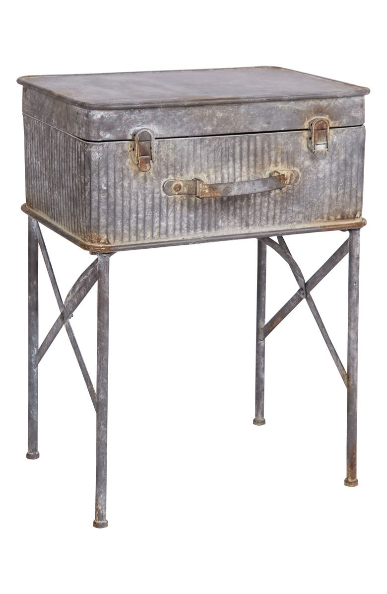 FORESIDE Devon Suitcase Side Table, Main, color, METAL