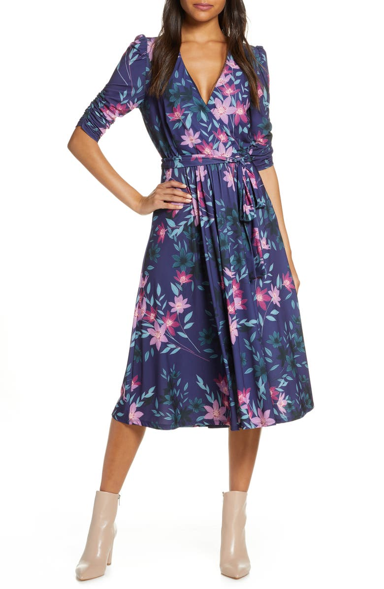 ELIZA J Floral Print Faux Wrap Midi Dress, Main, color, BLUE