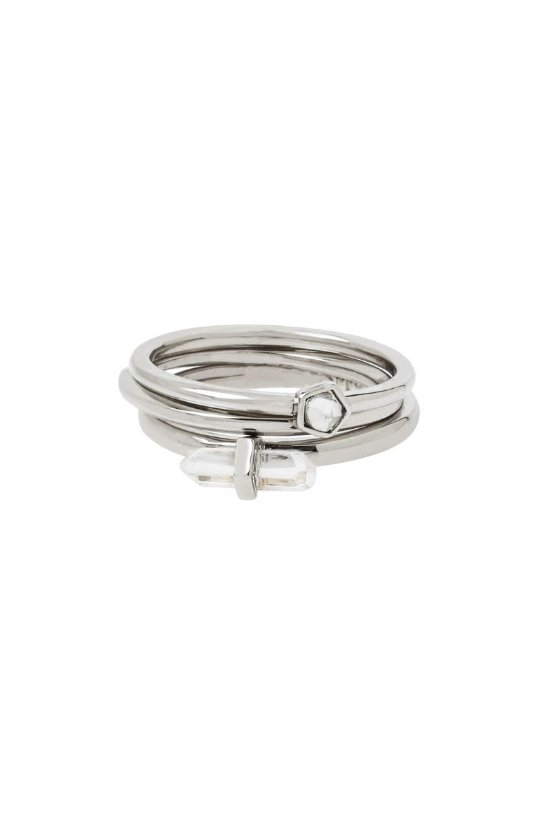 ALLSAINTS Set of 3 Stackable Rings, Main, color, CRYSTAL/ RHODIUM